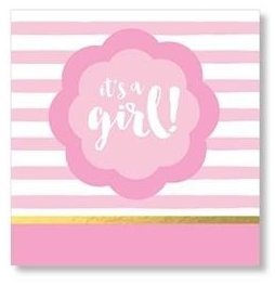 Mixed Pink and Gold Baby Shower Supplies Cocktail Napkins Its a Girl Gender Reveal Party Foil Stamped 40 Count Pack ()
