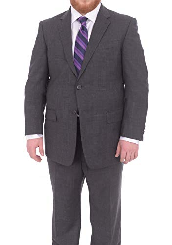 (Lazetti Couture Portly Fit Charcoal Gray Check Two Button Super 130's Wool Suit)