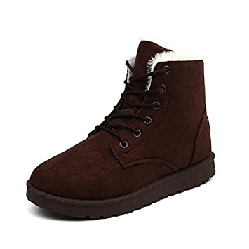 Dunnomart Women Boots Winter Warm Snow Boots Women Botas Mujer Lace Up Fur Suede Ankle Boots