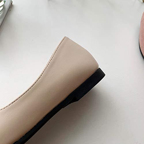 Cewtolkar Women Sandals PU Leather Shoes Roman Sandals Pointed Shoes Flat Sandals Work Shoes Soft Sandals Khaki by Cewtolkar (Image #2)