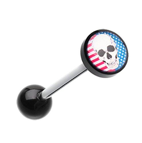 Freedom Fashion Skull Americana Logo Acrylic Barbell Tongue Ring