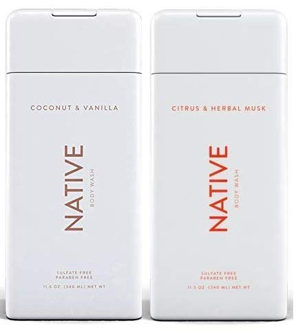 Native Body Wash Bundle - Coconut and Vanilla & Citrus and Herbal Musk - 11.5 oz (340ml) Each