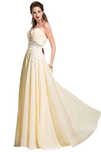 sunvary Crystal de volantes para el hombro One de gasa dama de honor vestidos de para mujer amarillo claro
