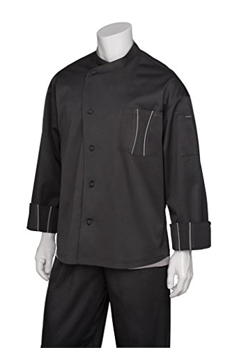 Chef Works Men's Amalfi Signature Series Chef Coat, Black W/Gray Trim, X-Large - Amalfi Trim