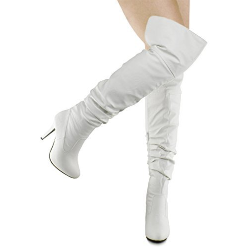 Heel Boots White (Forever Link Focus-33 Women's Fashion Stylish Pull On Over Knee High Sexy Boots, TPS Focus-33 v2 White Size 10)