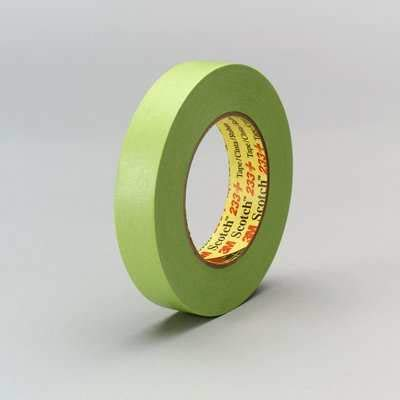 3M Scotch 233+ Crepe Paper Automotive Refinish Performance Masking Tape, 250 degree F Performance Temperature, 25 lbs/in Tensile Strength, 60.15 yds Length x 1/2
