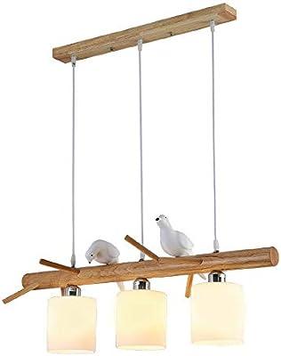LED colgante Lámpara de madera mesa comedor techo Design moderno ...