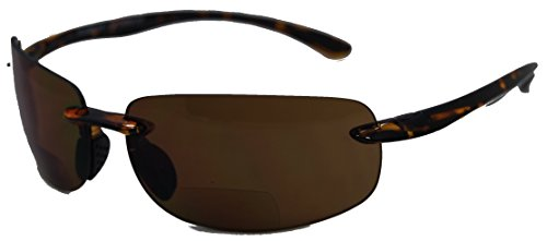 In Style Eyes® Lovin Maui Wrap Around Non-Polarized Version Nearly Invisible Line Bifocal Sunglasses/Tortoise/2.00 Strength