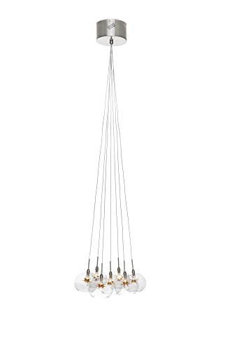 (ET2 E20114-25 Starburst 7-Light Multi-Light Pendant, Satin Nickel Finish, Clear/Amber Glass, 12V G4 Xenon Bulb, 50W Max., Dry Safety Rated, 2900K Color Temp., Low-Voltage Electronic Dimmer, ALUMINUM Shade Material, 3200 Rated Lumens)