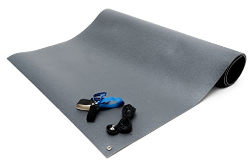 Bertech ESD Chair Mat Kit with a Heel Grounder and Grounding Cord, 3' Wide x 6' Long x 0.190'' Thick, Gray by Bertech (Image #2)