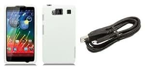 Quaroth Motorola DROID RAZR MAXX HD (Verizon) Premium Combo Pack - White Hard Shield Case + ATOM LED Keychain Light +...