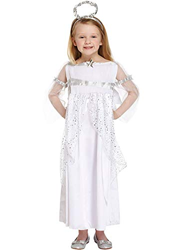 MA ONLINE Kids Fancy Dressing up White Angel Christmas Party Costume Girls Fancy Xmas Nativity Outfit 7-9 Years