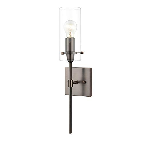 Glass Modern Sconce - Light Society LS-W238-BZ-CL Montreal Wall Sconce, Bronze with Clear Glass Cylinder Shade, Modern Industrial Lighting Fixture
