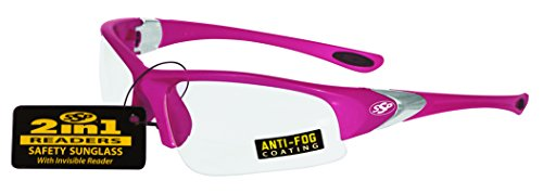 SSP Eyewear ENTIAT 1.5 PNK CL A/F Entiat Unisex 1.50 Bifocal/Reader Safety Glasses with Pink Frames and Clear Anti-Fog Lenses, - Safety Bifocal Women's Glasses