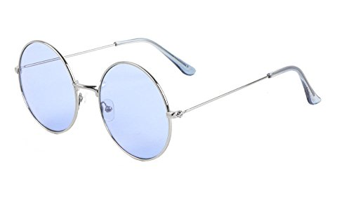XL Round Oversized Classic Lennon Circle Lens Sunglasses (Silver Frame, - Shades Biggie