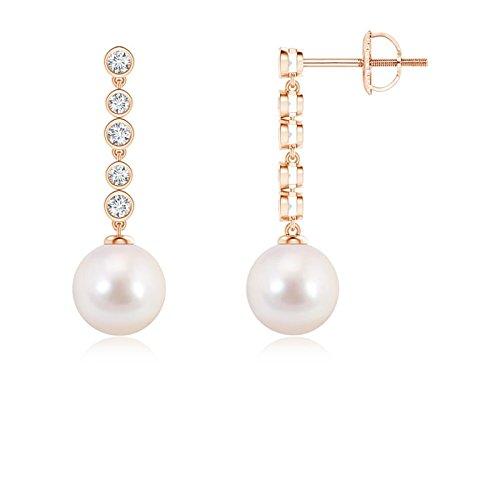 pinkgold Akoya Cultured Pearl Long Drop Earrings for Women with Diamonds (8mm Akoya Cultured Pearl)