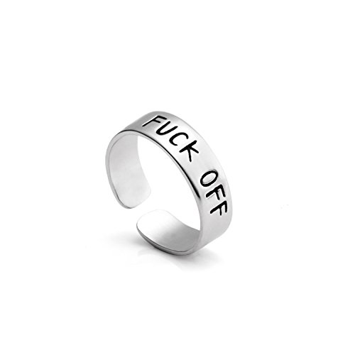 Yiyang Adjustable Ring Jewelry Personalized Rings Birthday Graduation Gifts for Girls (Fuck Off) by Yiyang