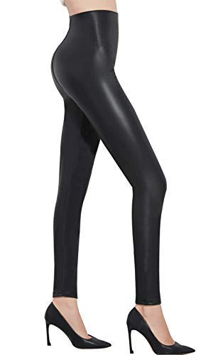 Pelisy Womens Faux Leather High Waisted Leggings Stretchy Skinny Leather Pants Black Medium