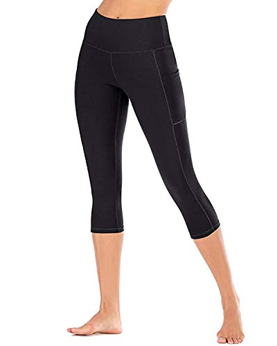 Gnpolo Womens Capri Leggings Workout High Waisted Yoga Pants with Pockets Athletic Tights