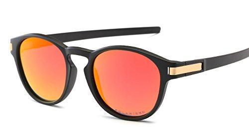 Polarized TR90 Matte Black Frame Clear Reflective Round Men Women Sunglasses (Red, - Framed Round Men Sunglasses