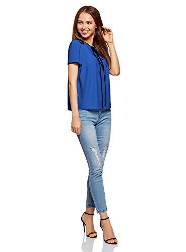 Ultra Liens Bleu avec oodji Nouer Top 7529b Contrastante Finition Femme et PZqfx1wdf