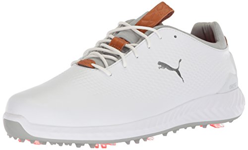 PUMA Golf Men's Ignite Pwradapt Leather Golf Shoe, White/White, 10.5 Medium (Leather Mens Golf Shoe)