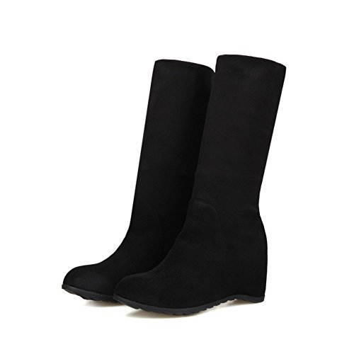 Women's Heels top Round Pull Mid Kitten on Toe Frosted Closed AmoonyFashion Black Boots TngSRxg