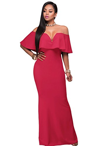 AlvaQ Women's Sexy V Neck Ruffle Off Shoulder Evening Long Maxi Party Dress Prom Cocktail Gown Plus Size -