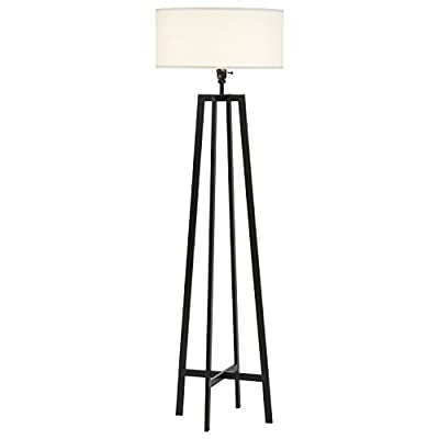 Stone & Beam Deco Metal Frame Living Room Standing Floor Lamp With Light Bulb and White Shade - 18 x 18 x 59.5 Inches, Black -  - living-room-decor, living-room, floor-lamps - 31BxWV2%2BHhL. SS400  -