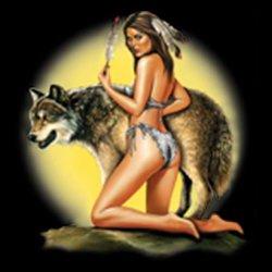 Mythologie der Ureinwohner Nordamerikas T-Shirt Mädchen mit Wolf in schwarz