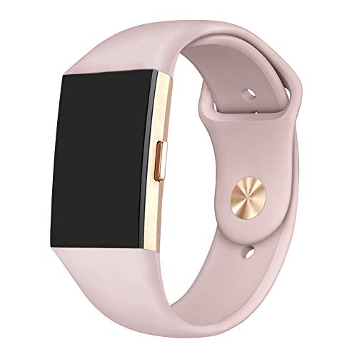 GHIJKL Sports Band Compatible Fitbit Charge 2, Soft Silicone Replacement Wristband for Fitbit Charge 2,Women Men, Large, Sand Pink with Rose Gold Button