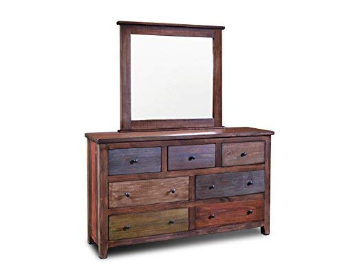 2-Piece Bayshore Rustic Modern Style Solid Wood Dresser and Mirror Set
