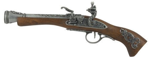 Flintlock Pistol Gun - Denix Left Handed Austrian Flintlock Pistol, Gray