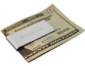 Silver Tone Personalized Engravable Metal Money Clip Free Engraving