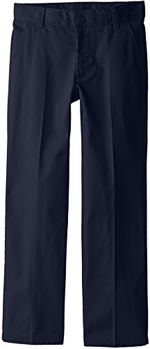 French Toast Big Boys' Flat Front Double Knee Pant with Adjacent Waist, Navy, 8 (Boys School Uniforms Pants)