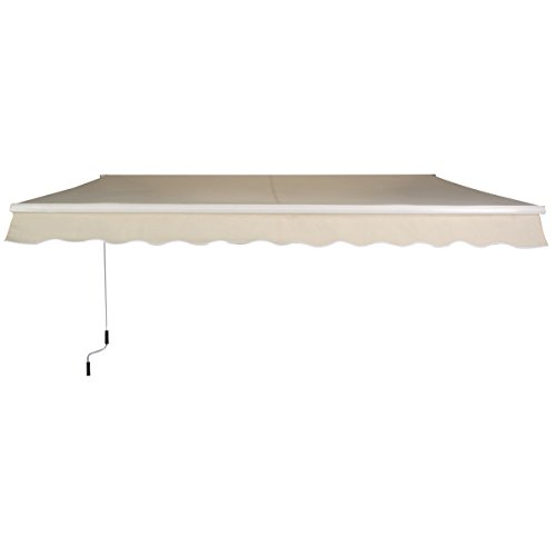 Beige 8.2'×6.5' Retractable Deck Awning Sunshade Shelter Canopy Outdoor Manual (Indoor Air Conditioner Cover Xl compare prices)