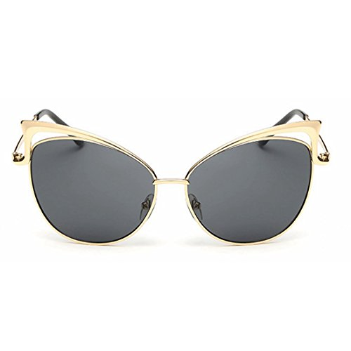 JKHOIUH Women's Cat Eye Style Metal Frame Sunglasses Lady Glasses Fashion Sunglasses Beach Sunglasses (Color : All Gray)