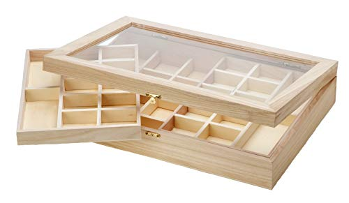 Darice Organizer with Clear Top-Unfinished-15.75 x 11 x 3 inches Wood Oragnizer