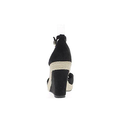 Espadrilles femme compensées noires à talons de 10cm aspect daim avec plateforme