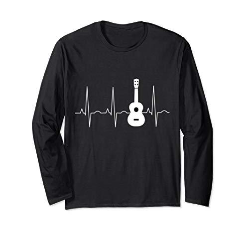 Ukulele Shirt Ukulele Musician Heartbeat Long Sleeve T-Shirt