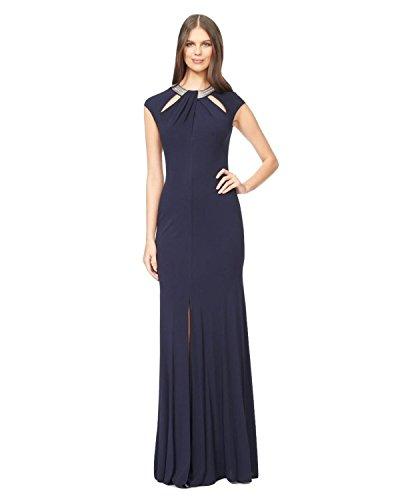 David Meister Embellished Cutout Jersey Evening Gown Dress David Meister Jersey