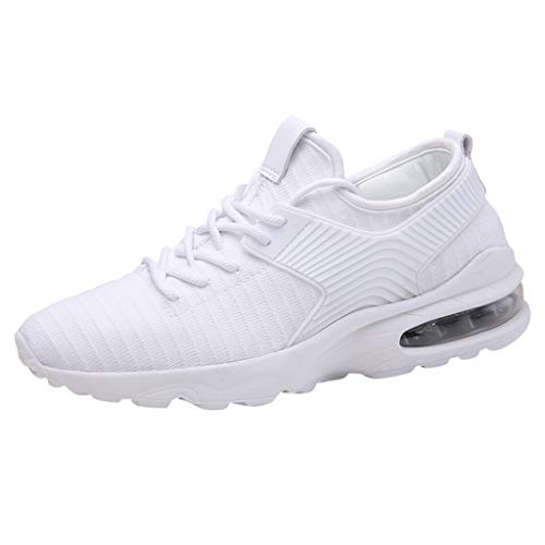 Bralonees Lightweight Mesh Sneakers The Men's Breathable Fashion Woven Running Shoes Non-Slip Casual Sports White