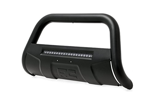 Rough Country - B-T4071 - Black Bull Bar w/ Integrated Black Series 20-inch LED Light Bar for Toyota: 07-18 Tundra 4WD/2WD