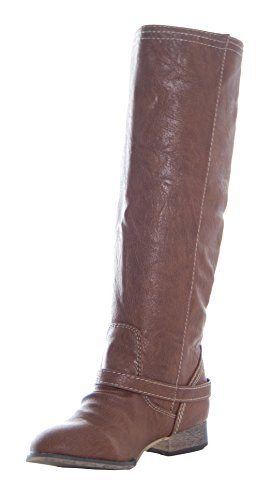 Breckelle's OUTLAW-81 Fashion Basic Knee High Classic Buckle Riding Boot tan 6.5