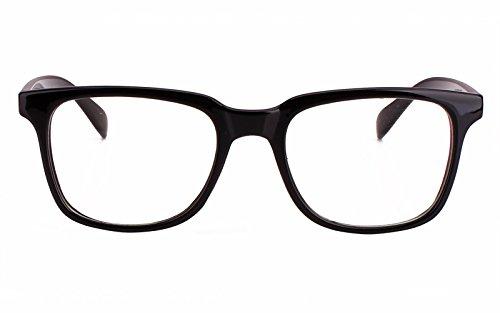 Agstum Wayfarer Plain Glasses Frame Eyeglasses Clear Lens (Shiny.black, - Black Prescription Glasses