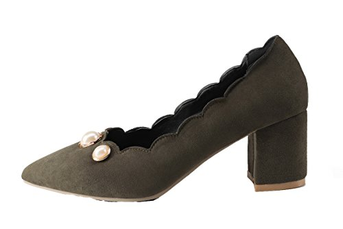 Amoonyfashion Dames Pull-on Kitten-hakken Frosted Solid Punt-teen Pumps-schoenen Army Green