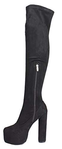 Womens Ladies Mid High Heel Block Stiletto Cheap Clearance Winter Calf Over Knee Fur Zip Platform Boots Size Style 5 - Black Faux Suede iupmyeam