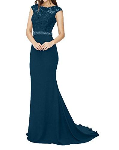 Abenkdleider mia La Brautmutterkleider Ballkleider Dunkel Etuikleider Spitze mit Festlichkleider Langes Brau Partykleider Blau Kurzarm xIqdZq1