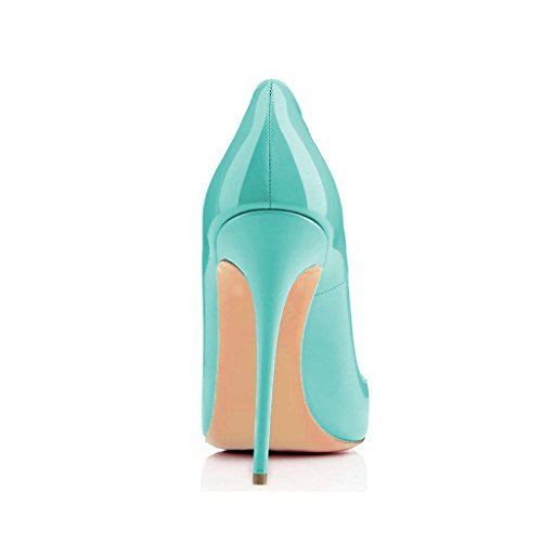 Formal Stiletto Women for 4 15 Heel Pumps Toe Turquoise Size High Pointed FSJ Shoes Dress US Party 8wqxFdnUE