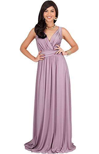KOH KOH Plus Size Womens Long Sleeveless Flowy Bridesmaids Cocktail Party Evening Formal Sexy Summer Wedding Guest Ball Prom Gown Gowns Maxi Dress Dresses, Dusty Pink 2XL 18-20 -